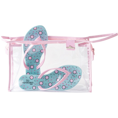 Chinelo Infantil WorldColors Summer Teens Kit Bolsa - Azul Perolado/Rosa BB