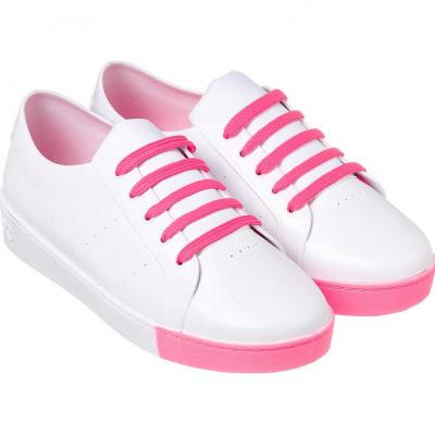 Tênis Infantil WorldColors Lady Teens - Branco/Pink Fluor