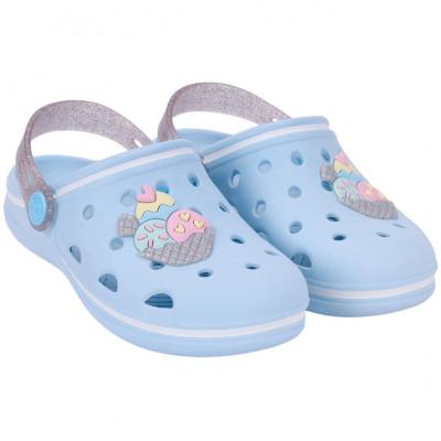Babuche Infantil WorldColors Pop Baby -Azul Ceu/prata Glitter