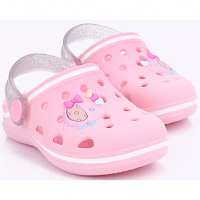 Babuche Infantil WorldColors Pop Baby - Rosa/transparente Gliter