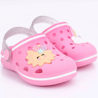 Babuche Infantil WorldColors Pop Baby - Rosa Candy/Transparente Gliter
