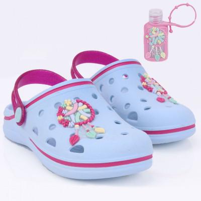 Babuche Infantil WorldColors Pop Kids - Azul Acqua/pink