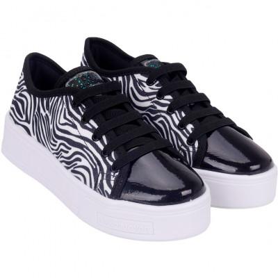 Tênis Infantil WorldColors Dance Teens - Zebra/Preto