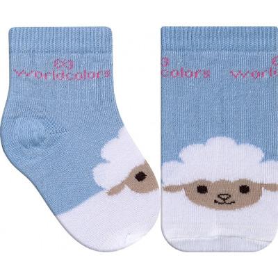 Meia Infantil WorldColors Colors Baby - Azul Céu/Branco
