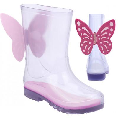 Galocha Infantil WorldColors Mia Clear – Transparente/Pink