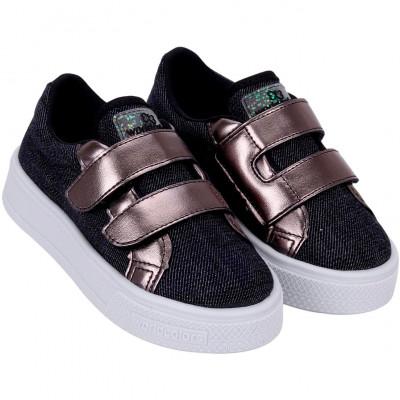 Tênis Infantil WorldColors Duda Kids - Prata Velho/jeans