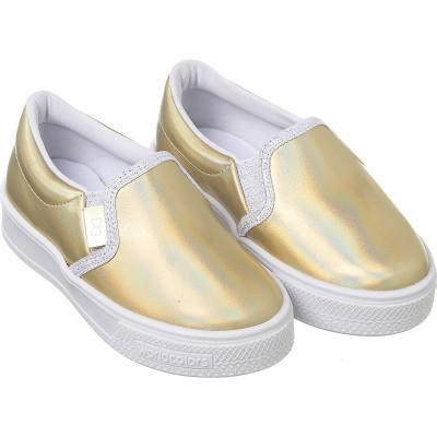 Tênis Infantil WorldColors Duda Kids – Dourado Holográfico