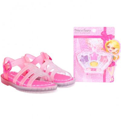 Sandália Infantil WorldColors Drops Kids - Estojo Maquiagem - Pink/Transparente