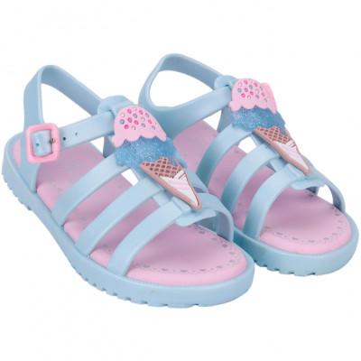 Sandália Infantil WorldColors Drops Kids - Azul Perolado/rosa