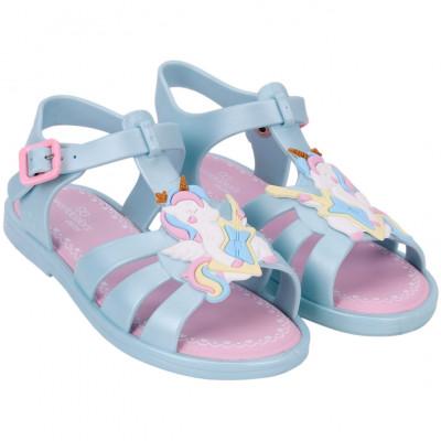Sandália Infantil WorldColors Bela Kids - Azul Perolado/rosa