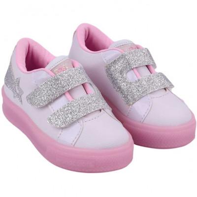 Tênis Infantil WorldColors Star Light com LED Kids - Branco/rosa