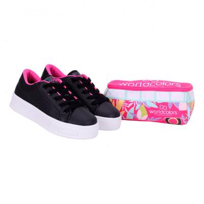 Tênis Infantil WorldColors School Teens - Preto/Pink