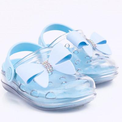 Babuche Infantil WorldColors Pop Clear Kids- Transparente/Azul Acqua