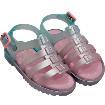 Sandália Infantil WorldColors Lilly Baby - Verde Chá/ Rosa BB