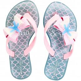 Chinelo Infantil WorldColors Summer Kids - Azul Frozen/Rosa BB