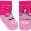 Kit - Galocha Infantil Mia Baby e Meia Divertida WorldColors - Transparente/Pink